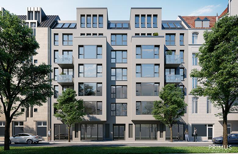 Rendering des Neubaus Lietzenburger Straße – Straßenansicht