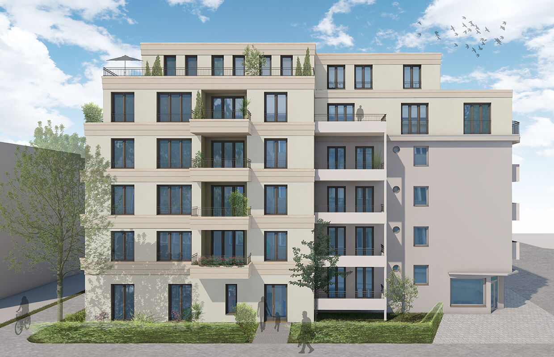 Rendering des Neubaus Effizienzhaus 55 – Straßenseite