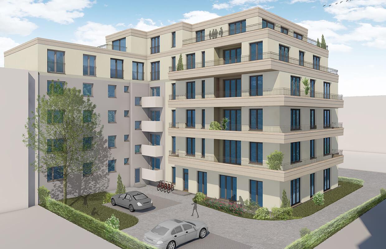 Rendering des Neubaus Effizienzhaus 55 – Hofseite